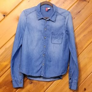 Chambray Button Up Long Sleeve by H&M size 12